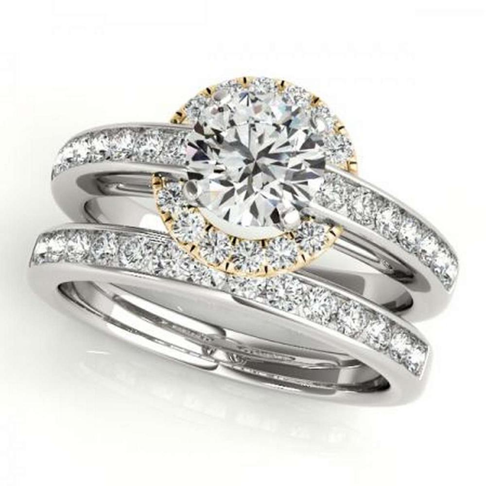 CERTIFIED 14KT TWO TONE GOLD 1.05 CTW G-H/VS-SI1 DIAMOND HALO BRIDAL SET #PAPPS86256