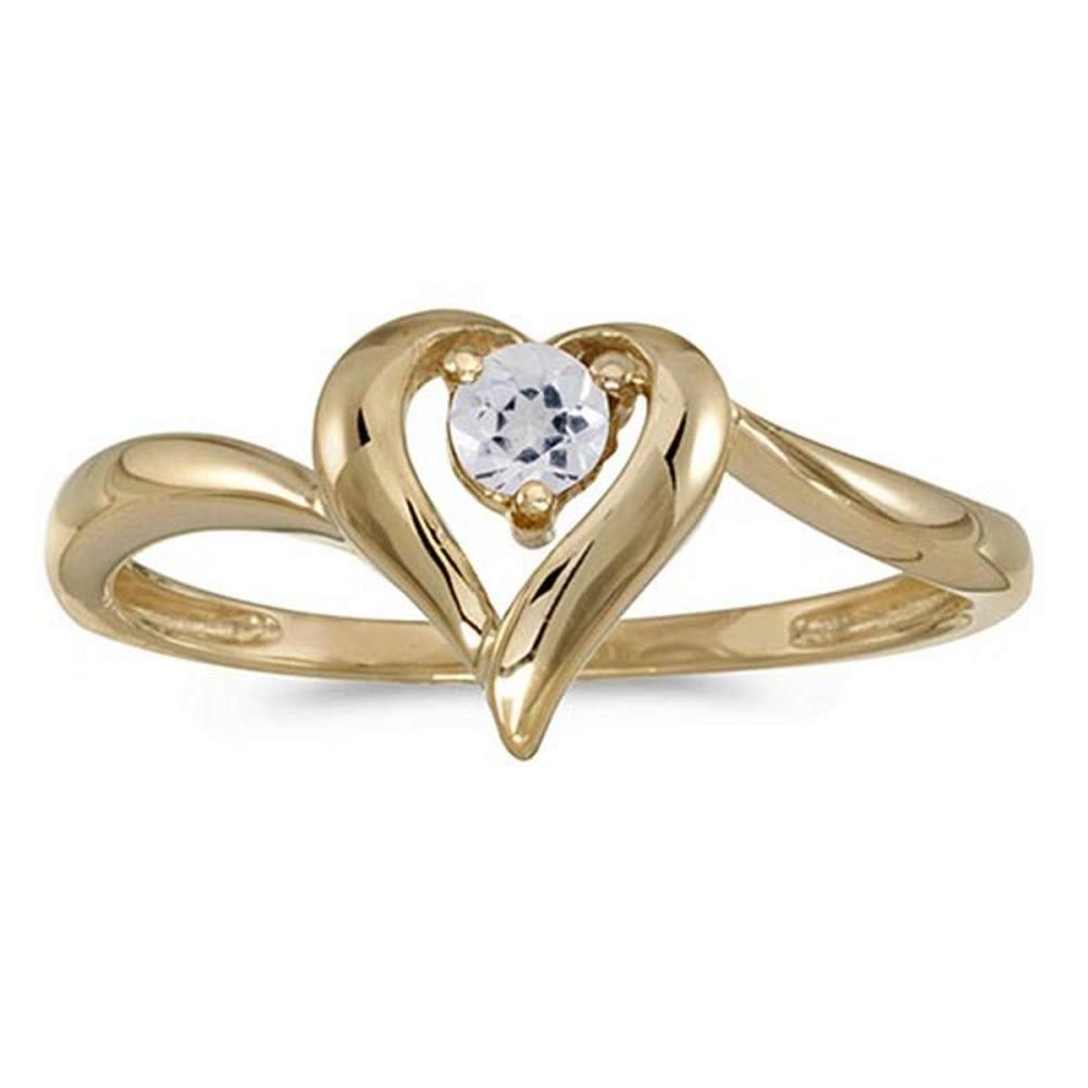 Certified 10k Yellow Gold Round White Topaz Heart Ring 0.11 CTW #PAPPS50563
