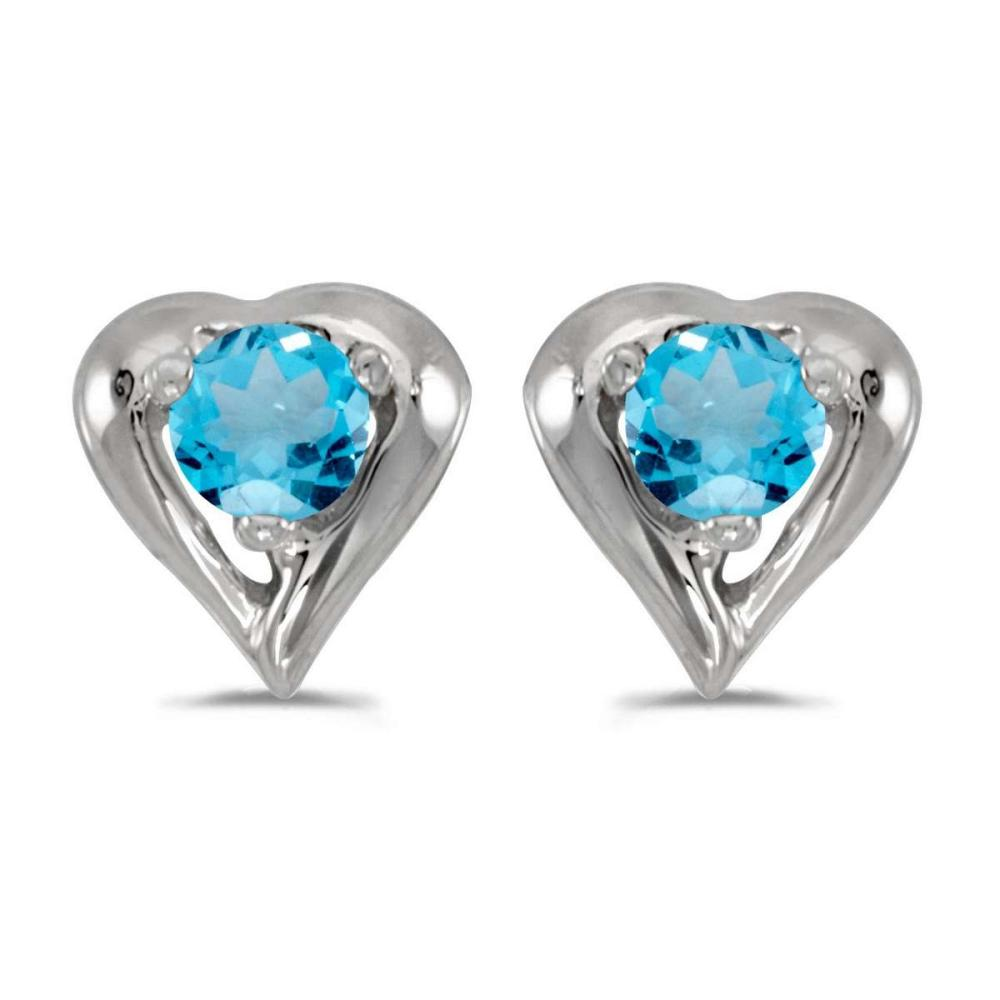 Certified 14k White Gold Round Blue Topaz Heart Earrings 0.22 CTW #PAPPS25021
