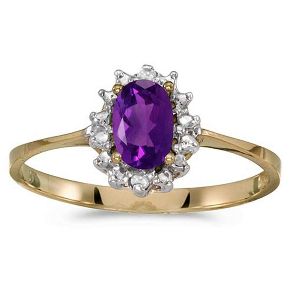 Certified 14k Yellow Gold Oval Amethyst And Diamond Ring 0.36 CTW #PAPPS51243