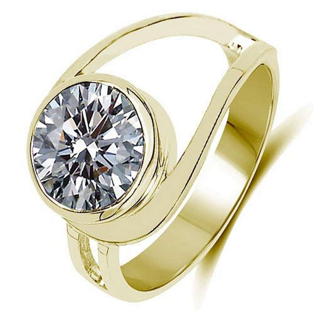 CERTIFIED ROUND 1.1 CTW L/SI2 DIAMOND RING IN 14K YELLOW GOLD #PAPPS90141