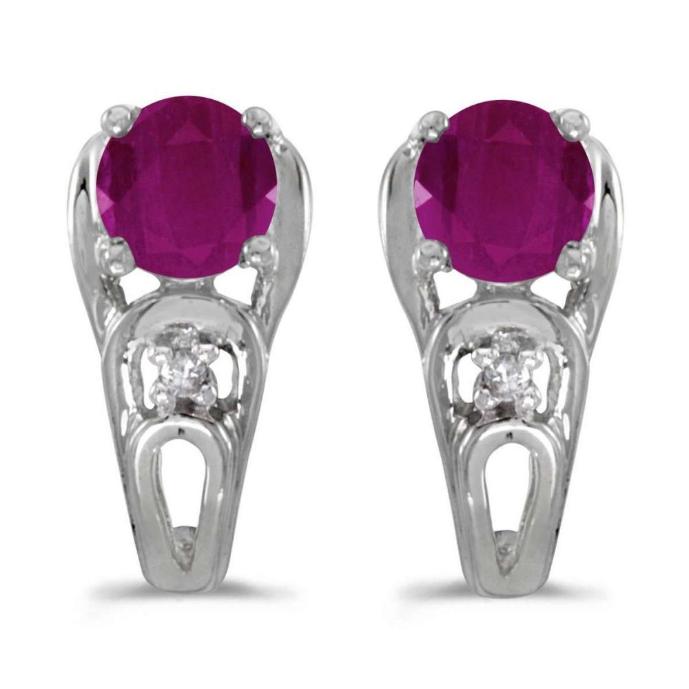 Certified 14k White Gold Round Ruby And Diamond Earrings 1.01 CTW #PAPPS25007