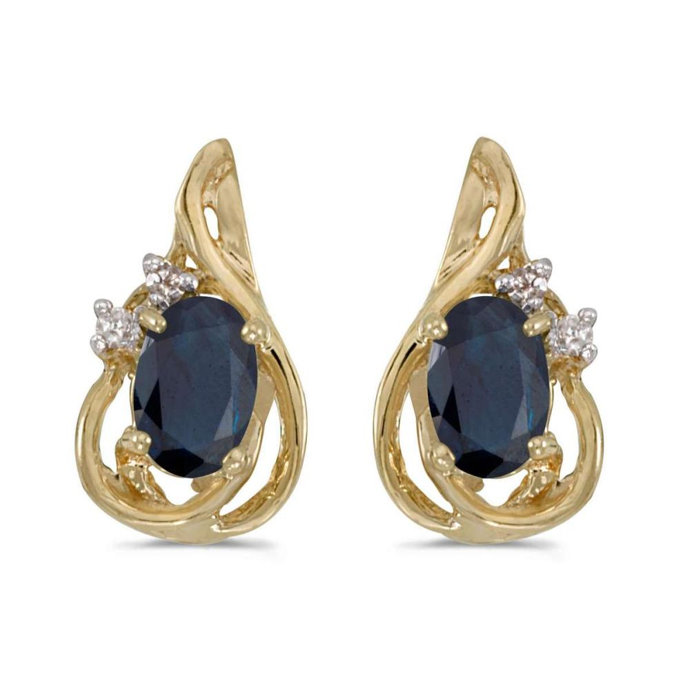 Certified 14k Yellow Gold Oval Sapphire And Diamond Teardrop Earrings 0.82 CTW #PAPPS25782