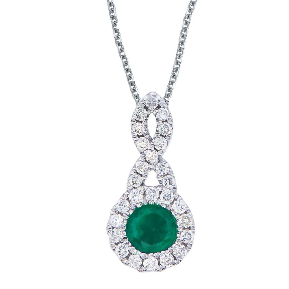 Certified 14k White Gold 4 mm Emerald and .14 ct Diamond Swirl Pendant #PAPPS26695