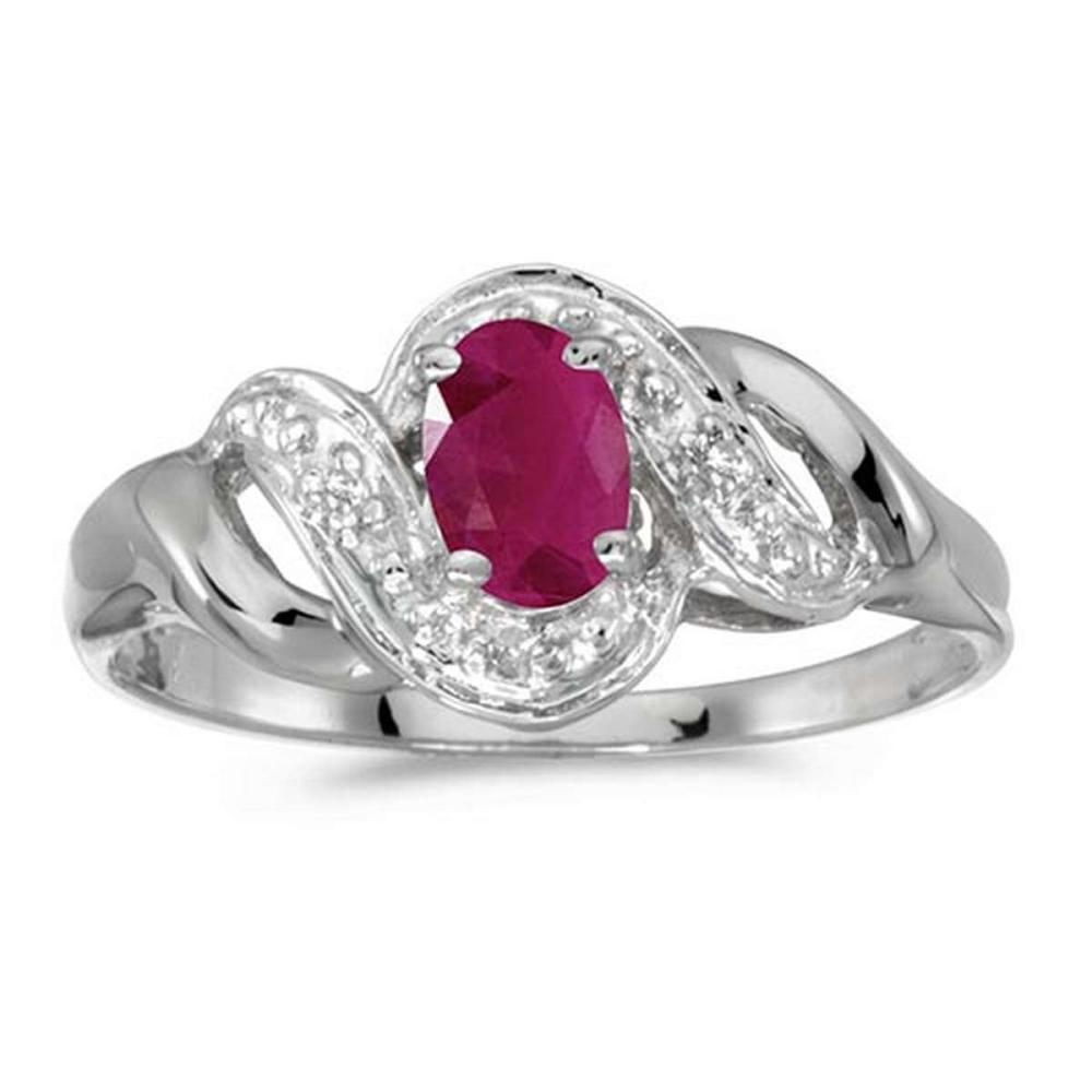 Certified 14k White Gold Oval Ruby And Diamond Swirl Ring 0.37 CTW #PAPPS51244