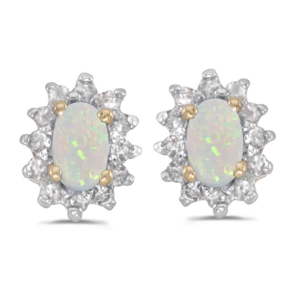 Certified 14k Yellow Gold Oval Opal And Diamond Earrings 0.41 CTW #PAPPS27346