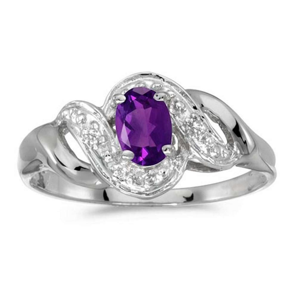 Certified 14k White Gold Oval Amethyst And Diamond Swirl Ring 0.35 CTW #PAPPS51259