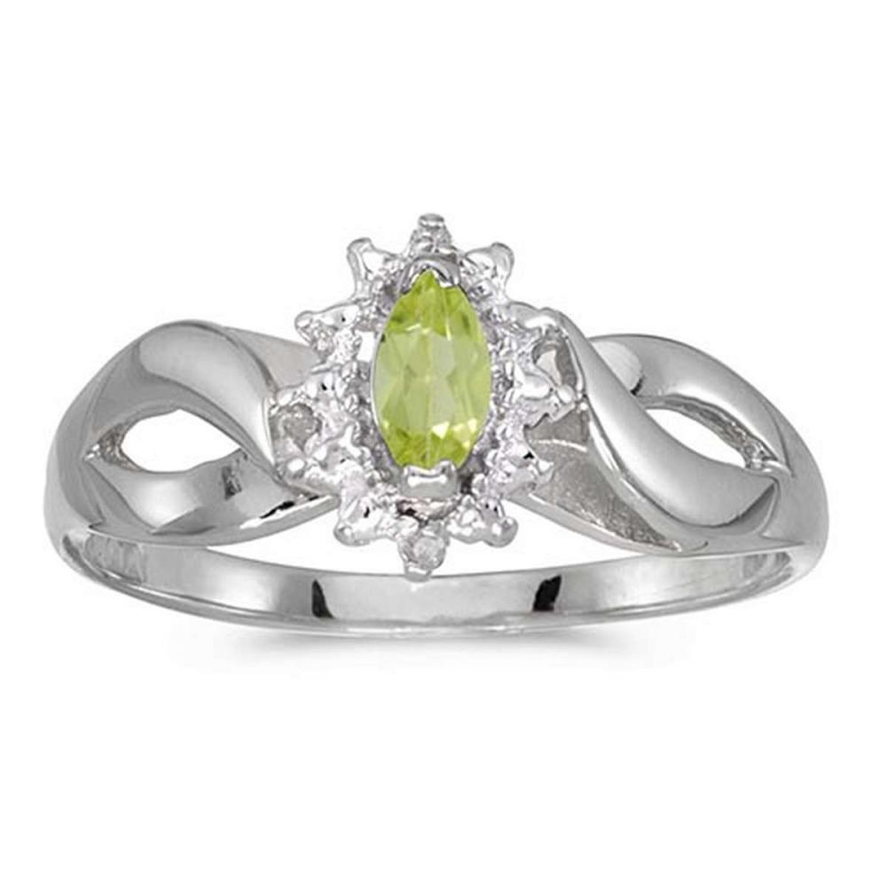 Certified 10k White Gold Marquise Peridot And Diamond Ring 0.23 CTW #PAPPS50549