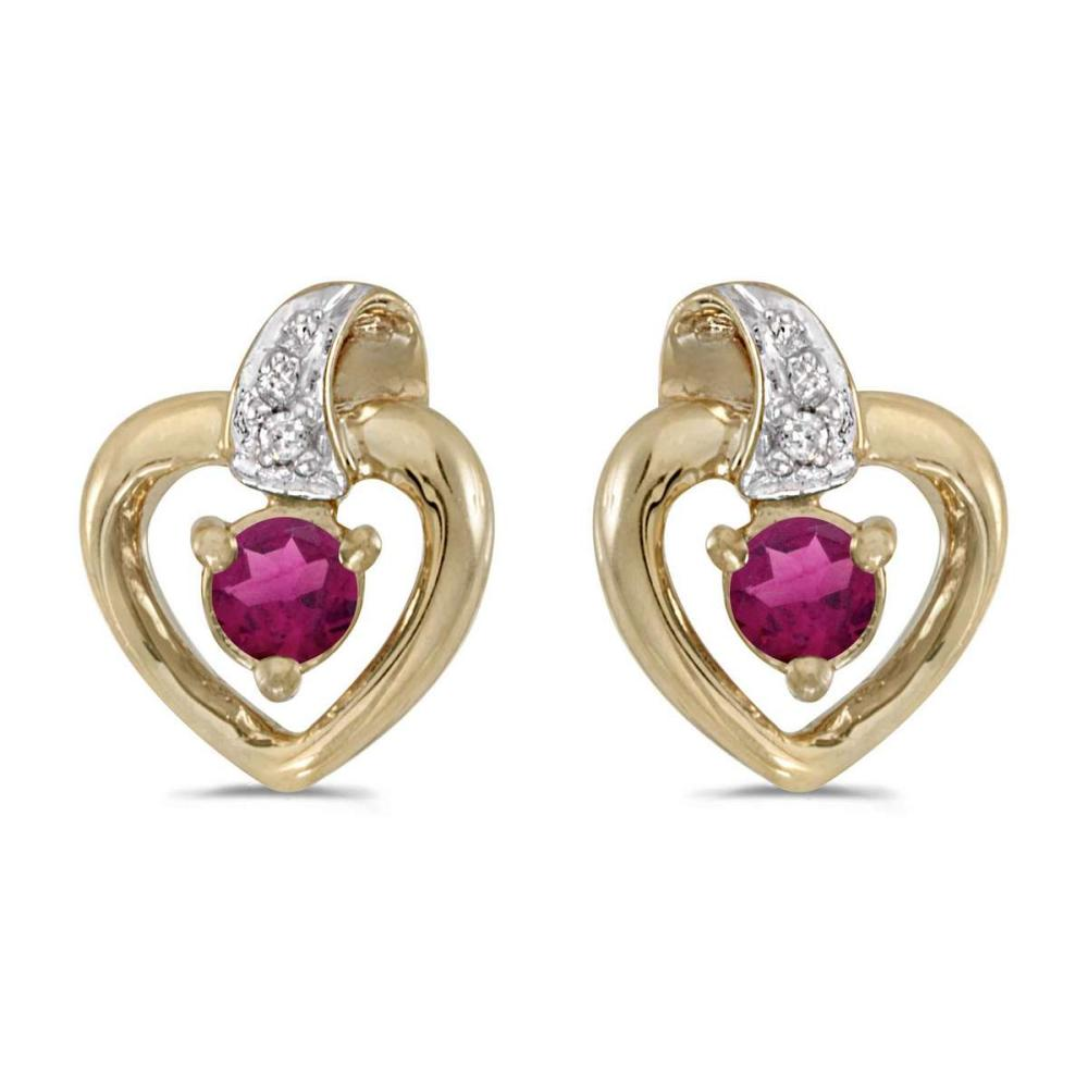 Certified 10k Yellow Gold Round Rhodolite Garnet And Diamond Heart Earrings 0.25 CTW #PAPPS25802