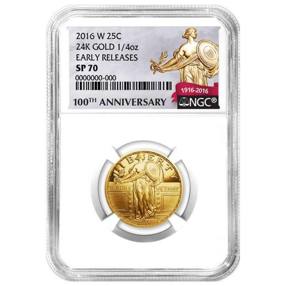 2016-W 1/4 oz Gold Standing Liberty Quarter Coin NGC SP70 Early Release #PAPPS58455