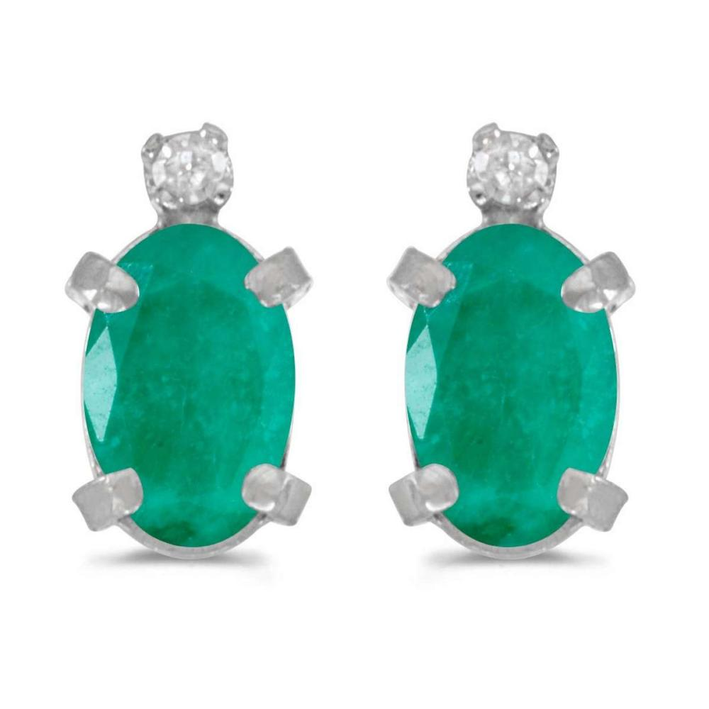 Certified 14k White Gold Oval Emerald And Diamond Earrings 0.64 CTW #PAPPS25001
