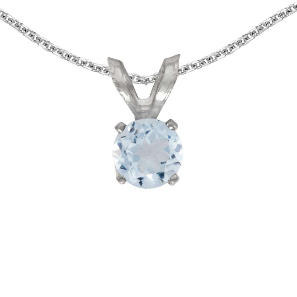 Certified 14k White Gold Round Aquamarine Pendant 0.19 CTW #PAPPS27655