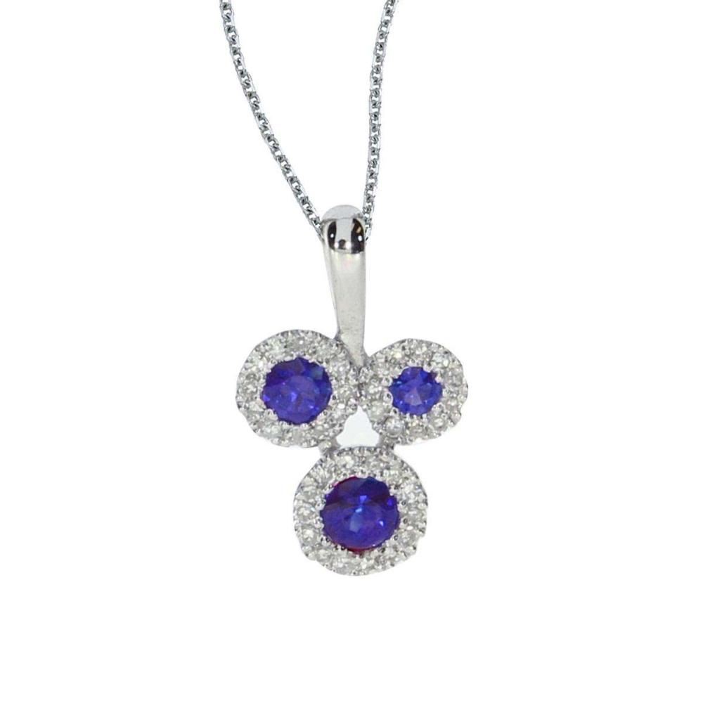 Certified 14k White Gold Triple Sapphire and .07 ct Diamond Pendant #PAPPS26708
