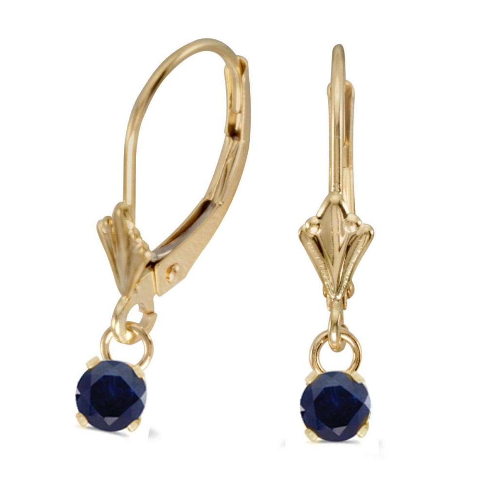 Certified 14k Yellow Gold 5mm Round Genuine Sapphire Lever-back Earrings #PAPPS26783