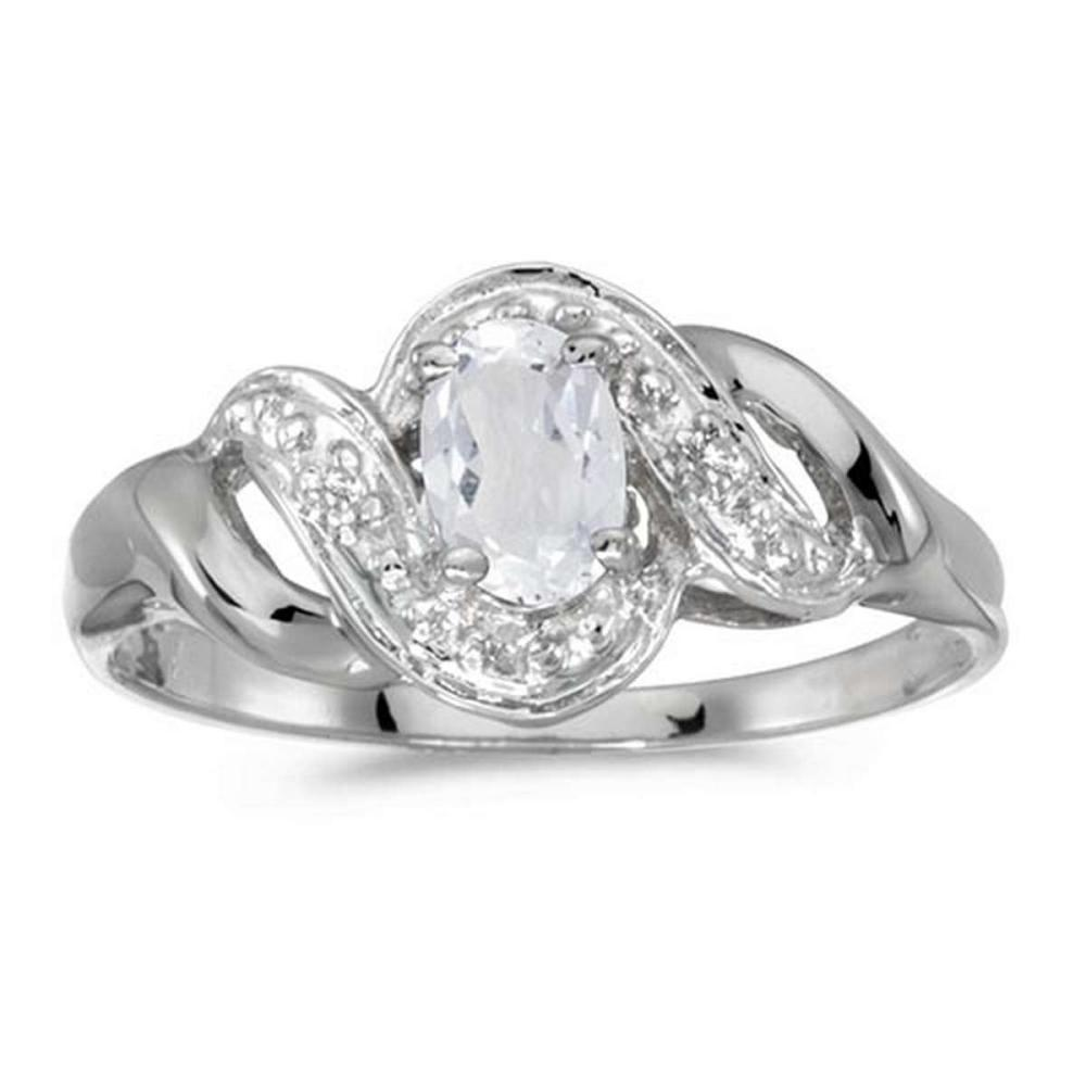 Certified 14k White Gold Oval White Topaz And Diamond Swirl Ring 0.49 CTW #PAPPS51255