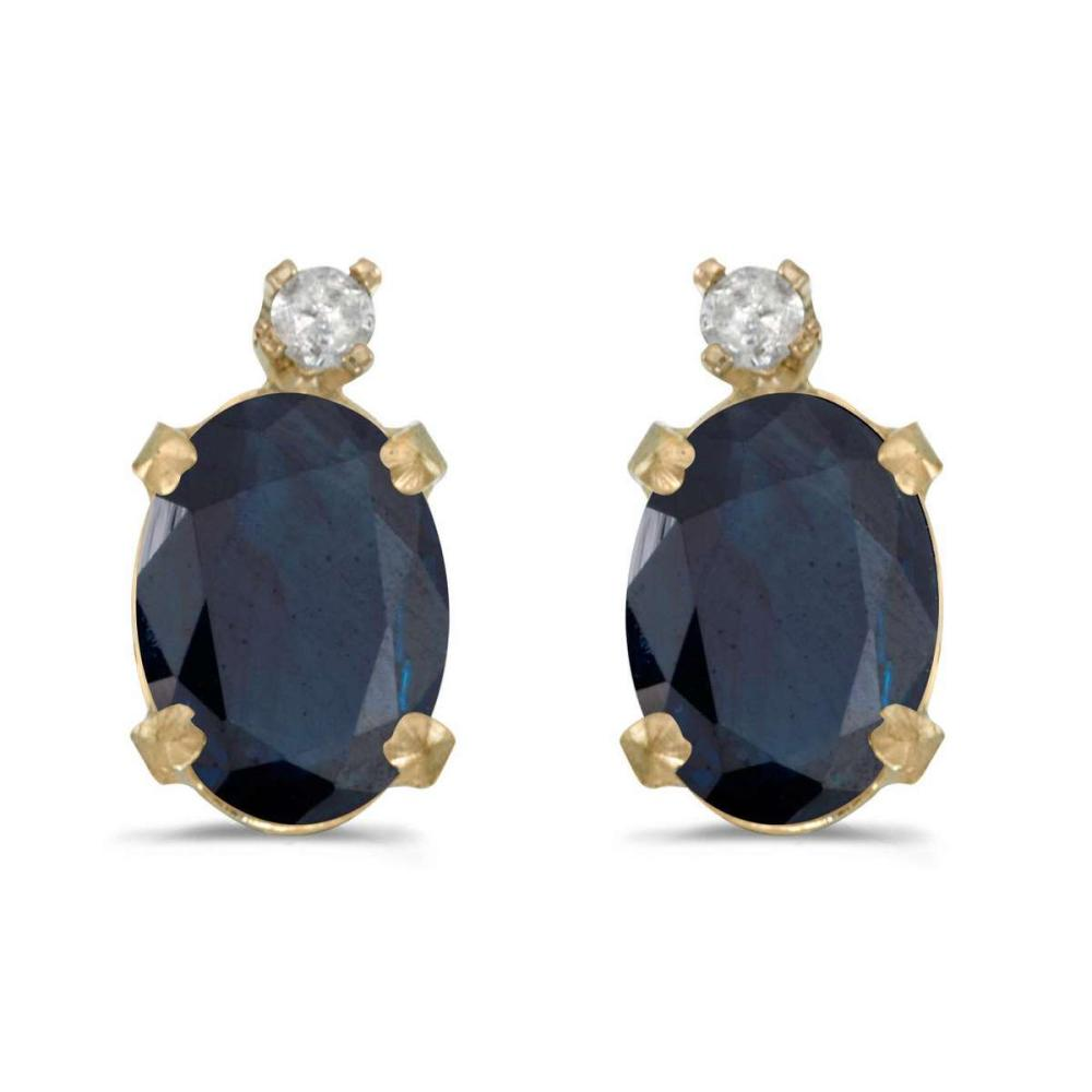 Certified 14k Yellow Gold Oval Sapphire And Diamond Earrings 1.64 CTW #PAPPS25028