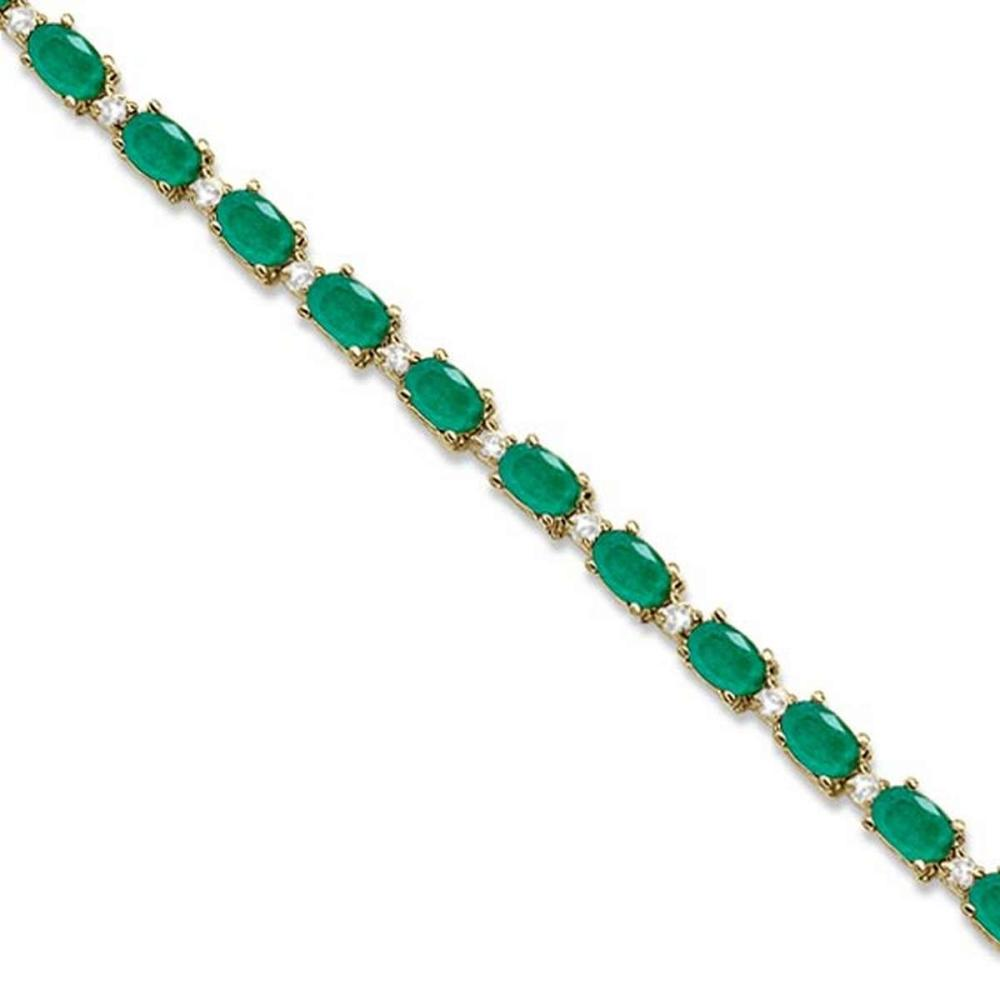 Emerald and Diamond Tennis Bracelet 14k Yellow Gold (12.00ct) #PAPPS20760