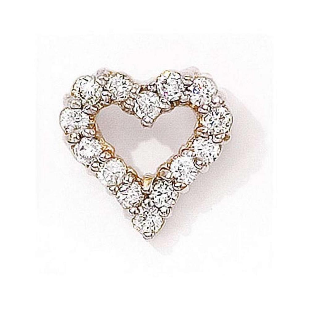 Certified 14K Yellow Gold Diamond Heart Pendant 0.75 CTW #PAPPS27653