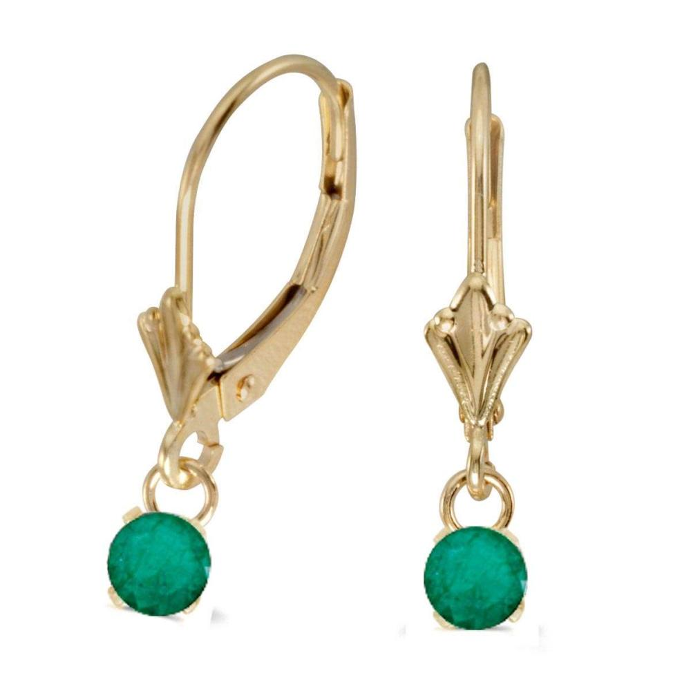Certified 14k Yellow Gold 5mm Round Genuine Emerald Lever-back Earrings #PAPPS26782