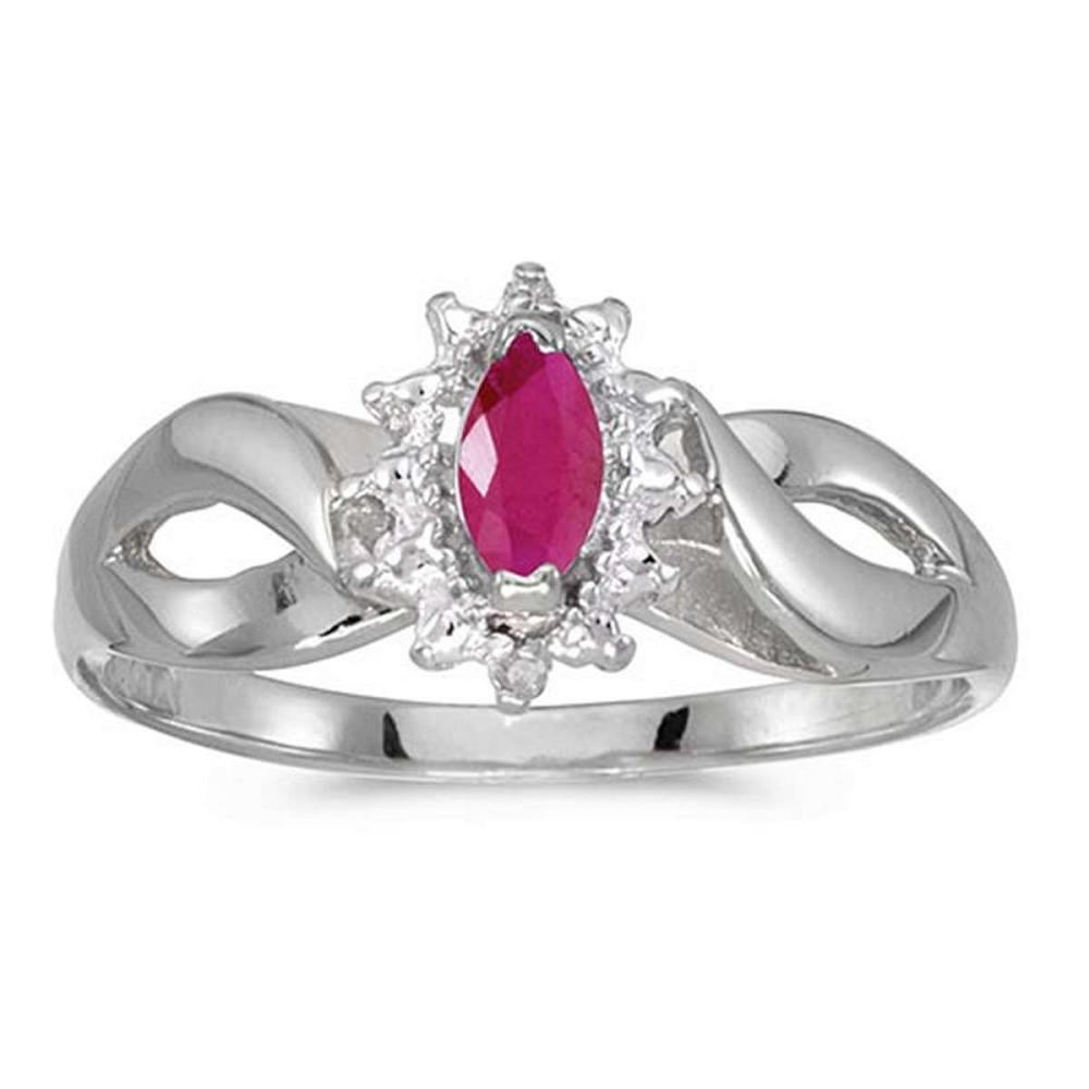 Certified 10k White Gold Marquise Ruby And Diamond Ring 0.23 CTW #PAPPS50555