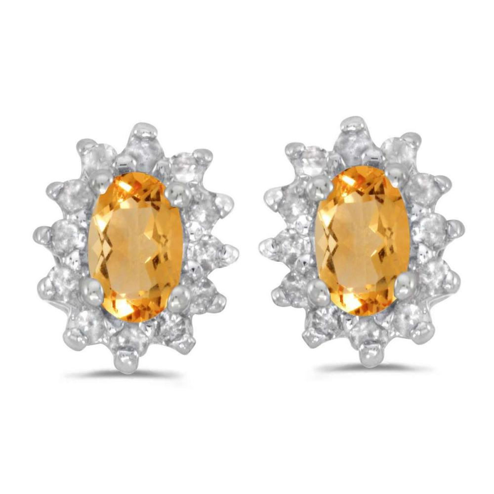 Certified 14k White Gold Oval Citrine And Diamond Earrings 0.55 CTW #PAPPS27358