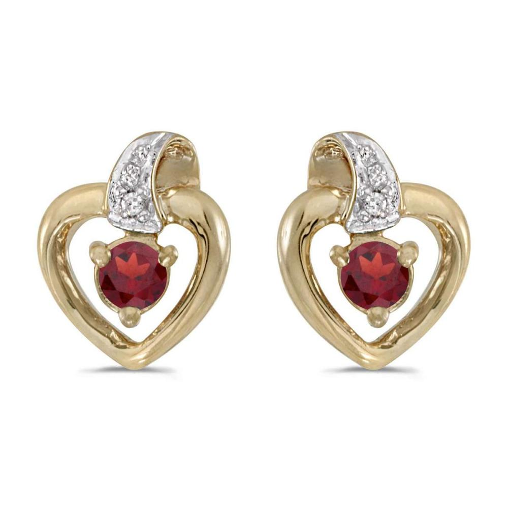 Certified 10k Yellow Gold Round Garnet And Diamond Heart Earrings 0.25 CTW #PAPPS25792