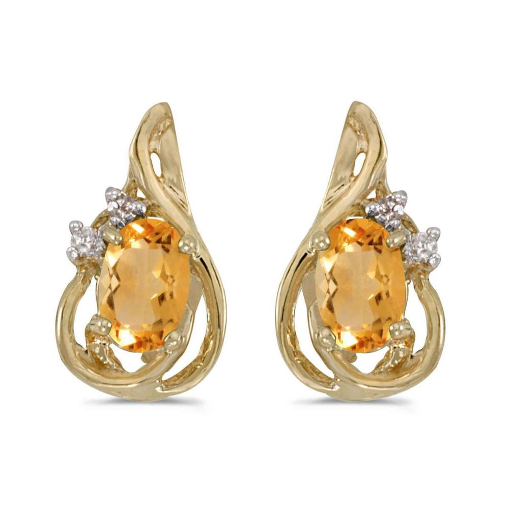 Certified 14k Yellow Gold Oval Citrine And Diamond Teardrop Earrings 0.66 CTW #PAPPS25784
