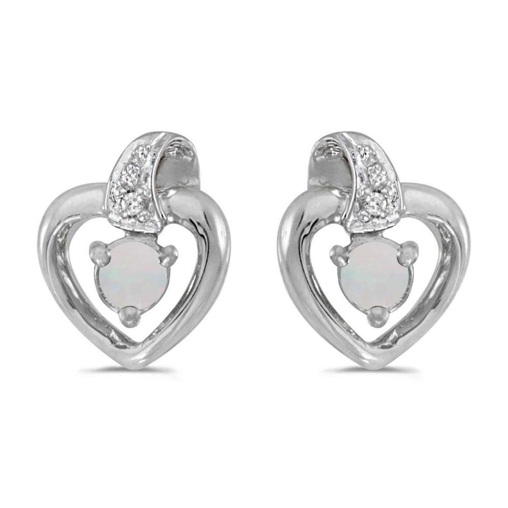 Certified 10k White Gold Round Opal And Diamond Heart Earrings 0.09 CTW #PAPPS25002