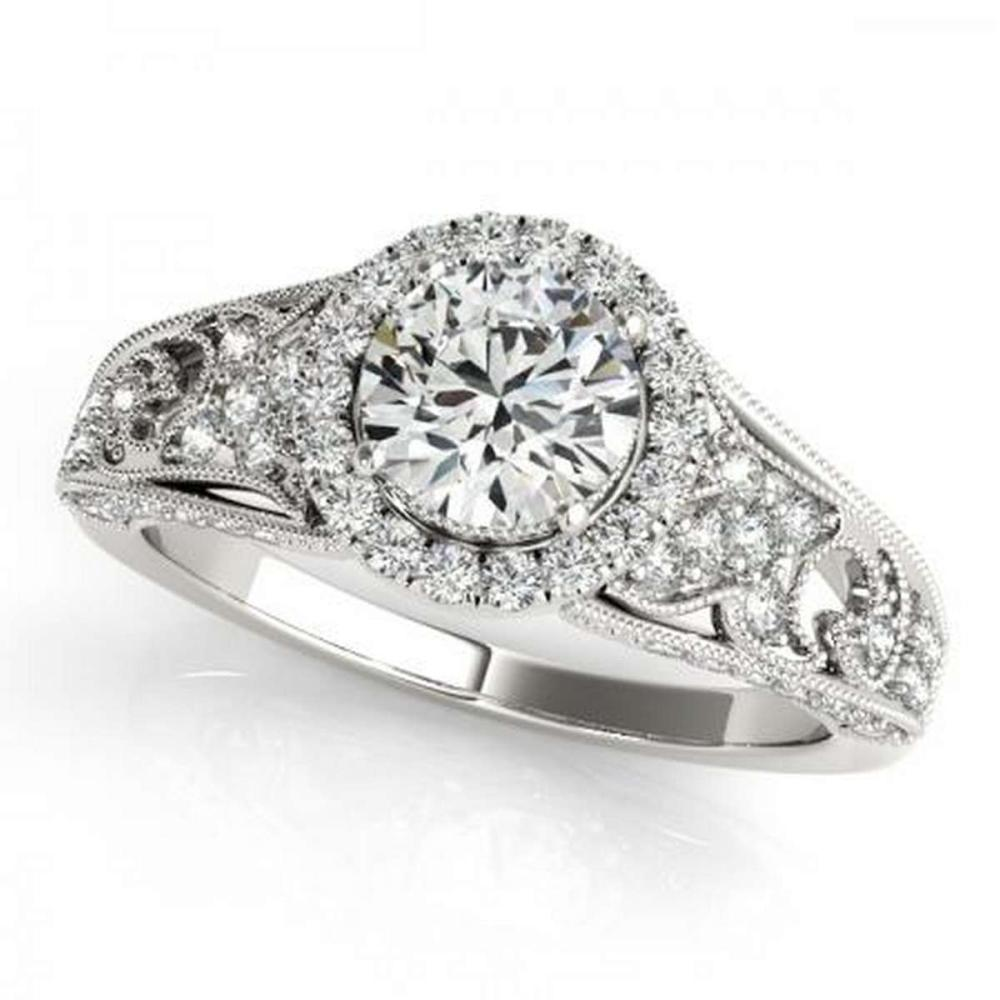 CERTIFIED PLATINUM 1.31 CTW G-H/VS-SI1 DIAMOND HALO ENGAGEMENT RING #PAPPS86163