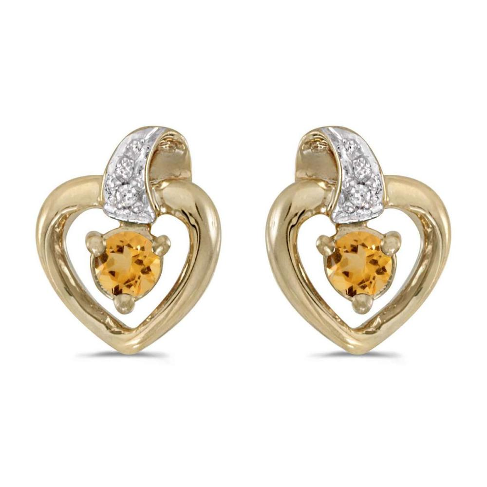 Certified 14k Yellow Gold Round Citrine And Diamond Heart Earrings 0.17 CTW #PAPPS25023