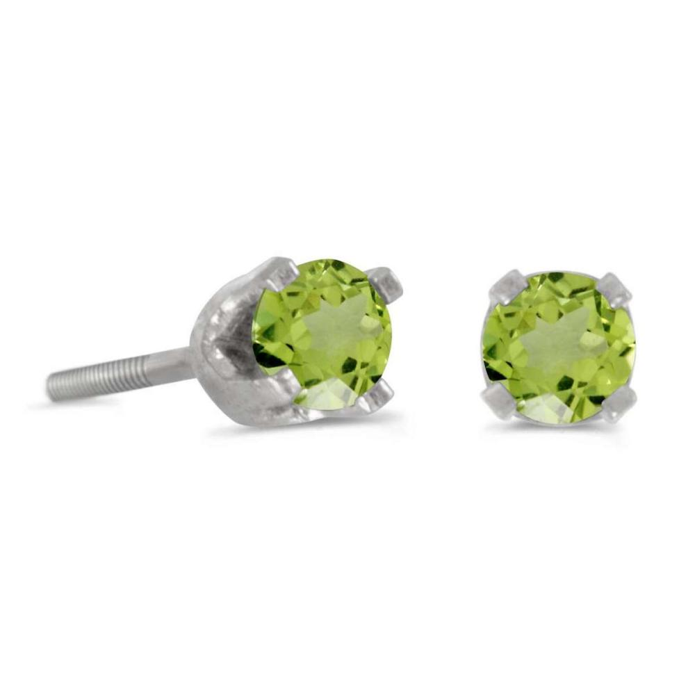 Certified 3 mm Petite Round Peridot Screw-back Stud Earrings in 14k White Gold 0.18 CTW #PAPPS24995