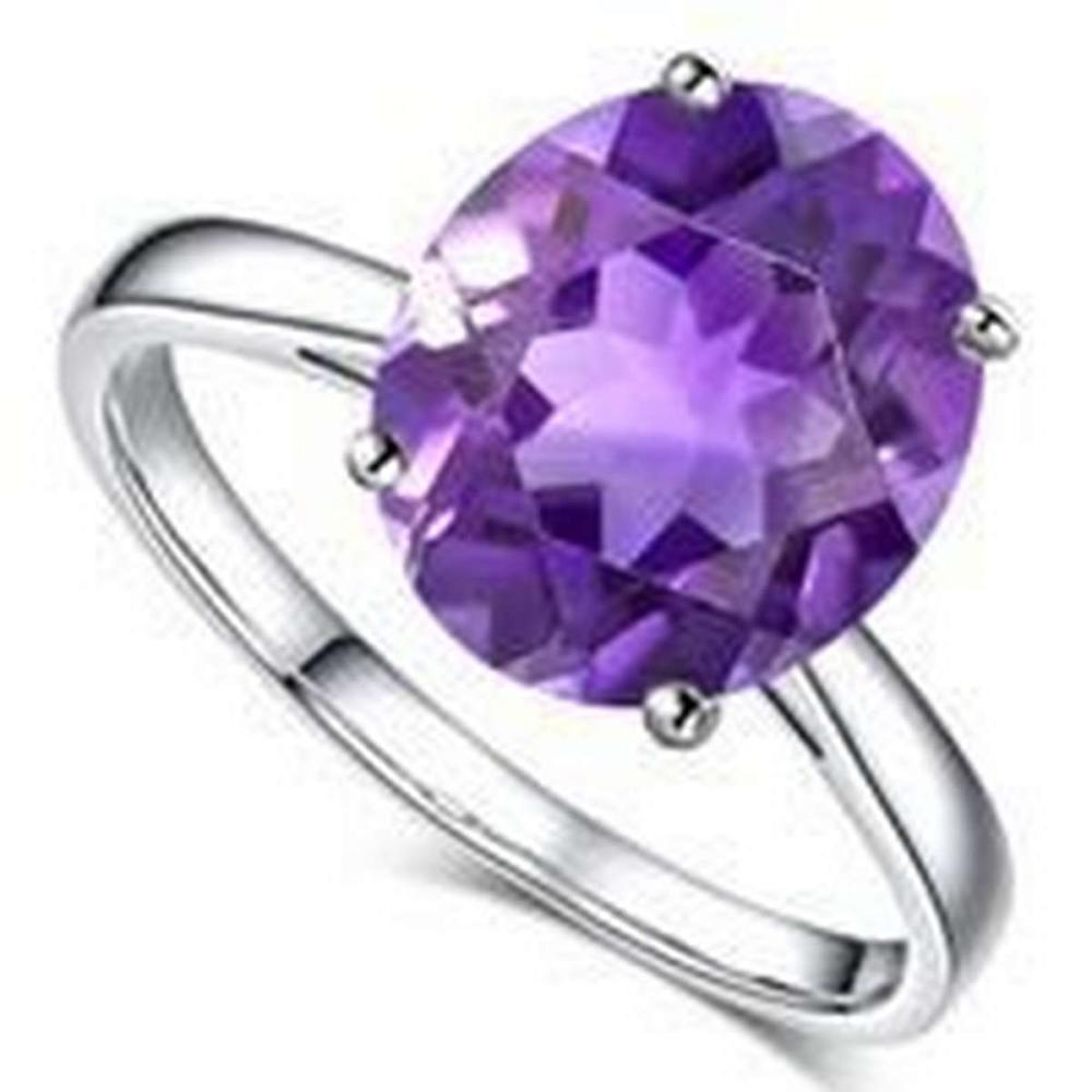6.5 CTW AMETHYST 10K SOLID WHITE GOLD RING #PAPPS56918