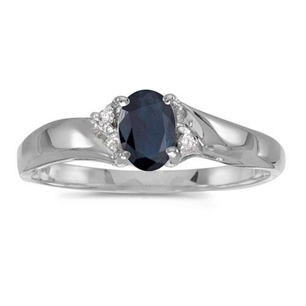 Certified 14k White Gold Oval Sapphire And Diamond Ring 0.41 CTW #PAPPS51207