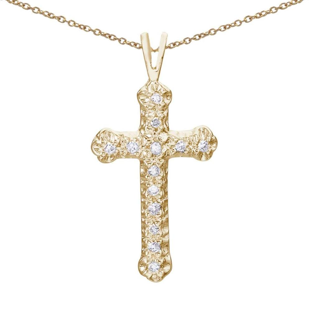 Certified 14K Yellow Gold Diamond Cross Pendant #PAPPS26643