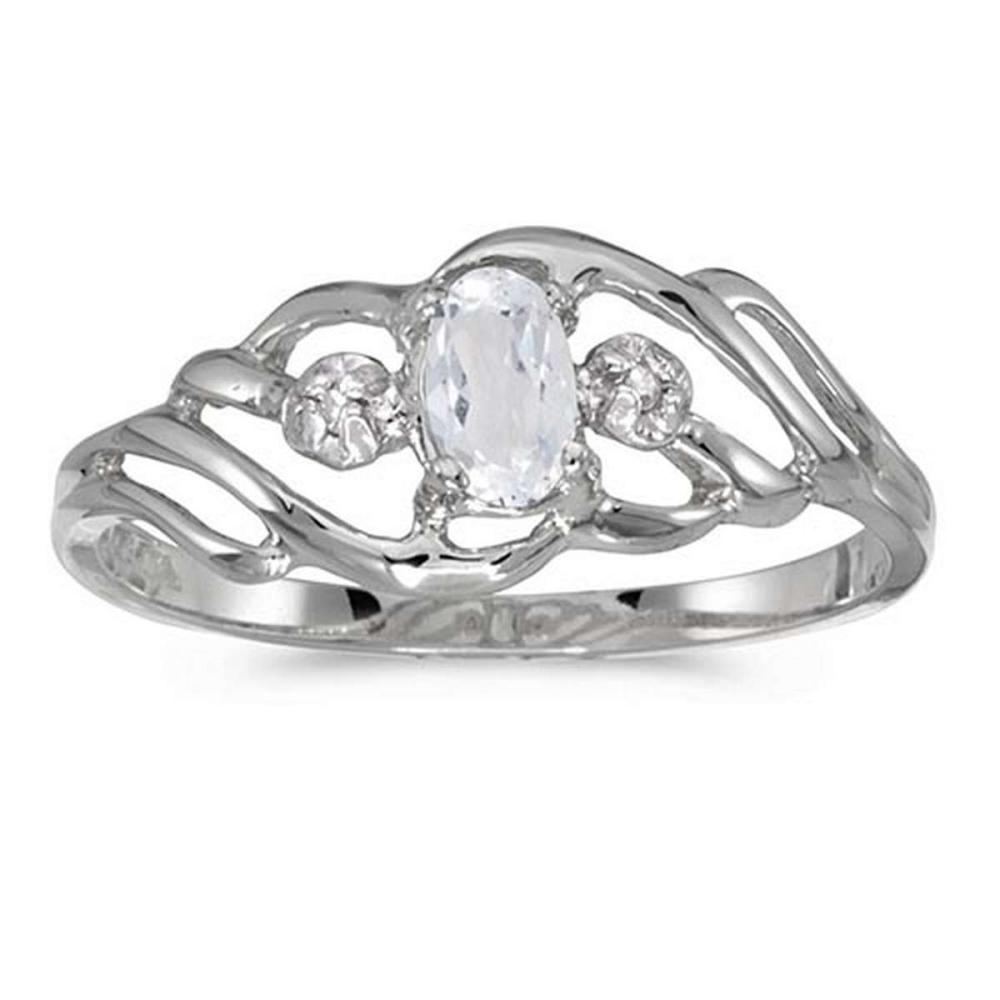 Certified 10k White Gold Oval White Topaz And Diamond Ring 0.24 CTW #PAPPS51186