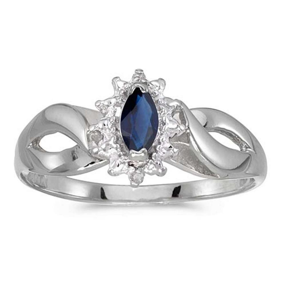 Certified 10k White Gold Marquise Sapphire And Diamond Ring 0.23 CTW #PAPPS50543