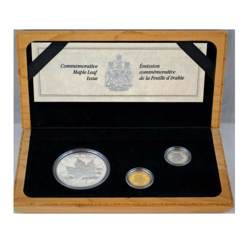 Canada 1989 Commemorative Maple Leaf Proof Set Silver Gold Platinum #PAPPS58392