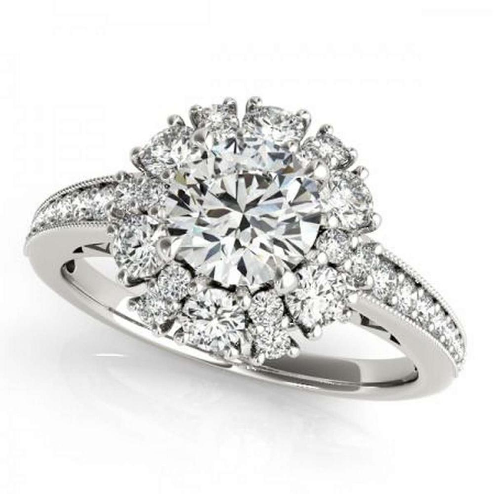 CERTIFIED PLATINUM 1.41 CTW G-H/VS-SI1 DIAMOND HALO ENGAGEMENT RING #PAPPS86176