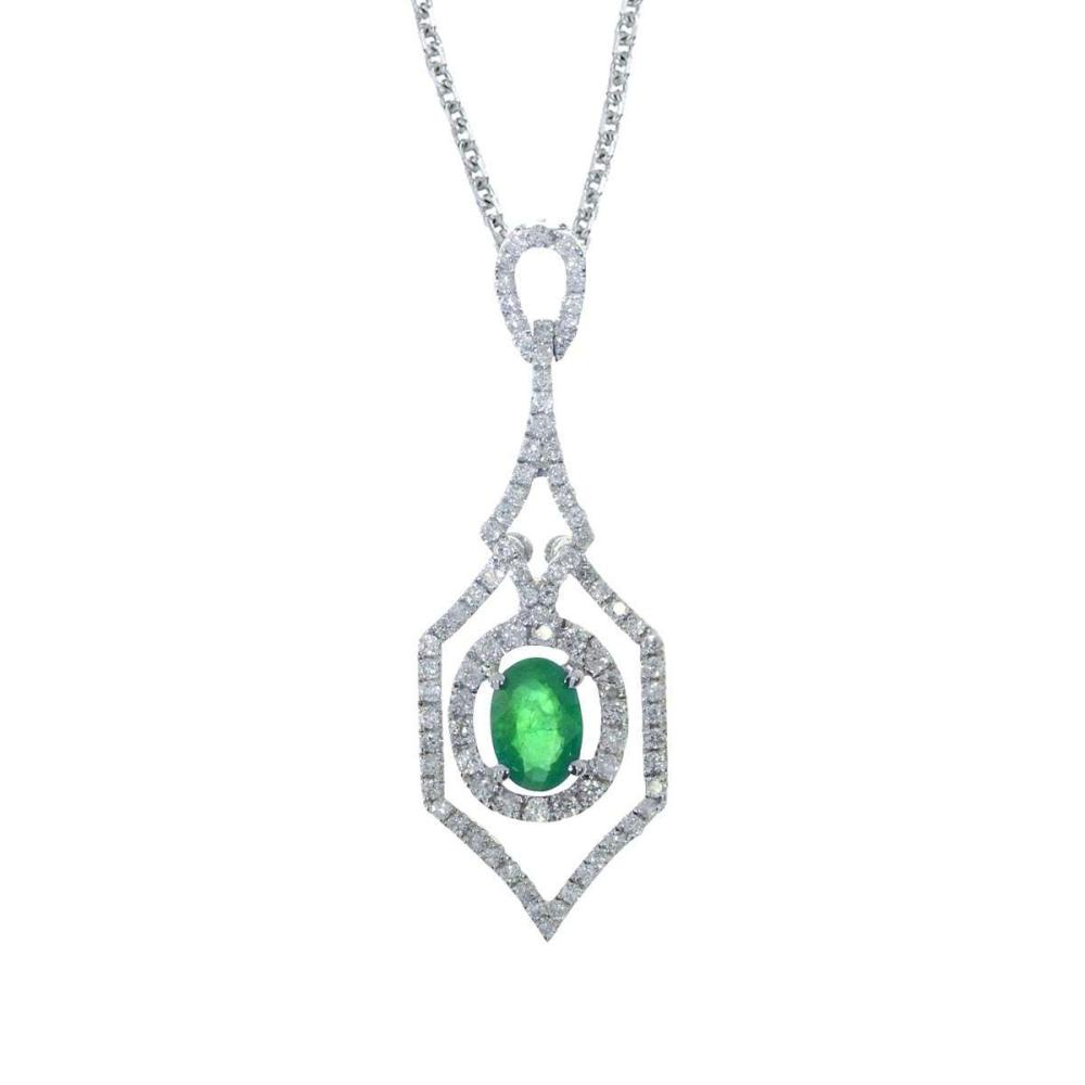 Certified 14k White Gold Emerald and .36 ct Diamond Pendant #PAPPS26712