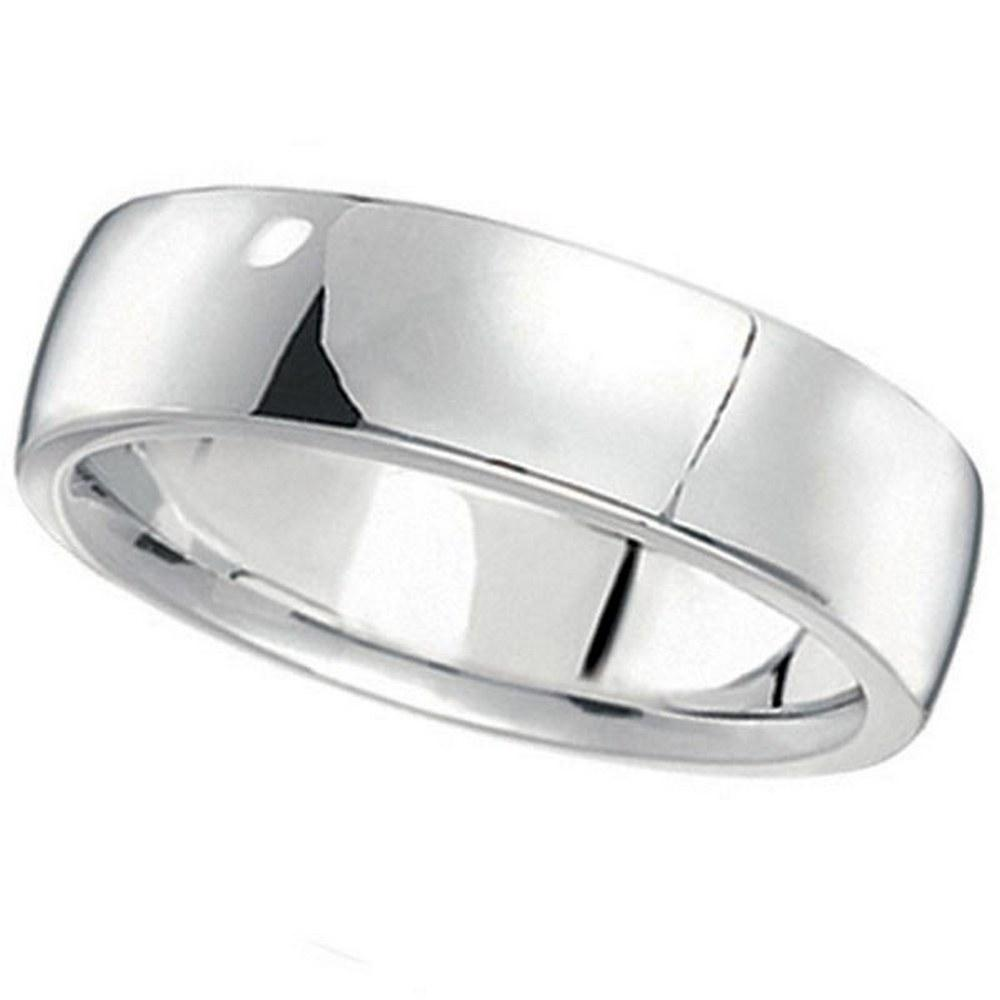 Mens Wedding Ring Low Dome Comfort-Fit in 14k White Gol