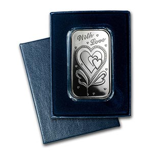 1 oz Silver Bar - With Love (w/Box & Capsule) #PAPPS74797