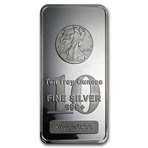 10 oz Silver Bar - Walking Liberty Design #PAPPS74816