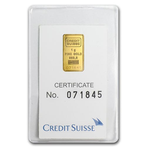 1 gram Gold Bar - Credit Suisse Statue of Liberty (In Assay) #PAPPS75096