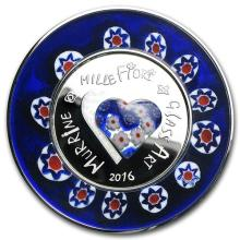 2016 Cook Islands Silver Murrine Millefiori Glass Art #PAPPS13350