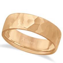 Men's Hammered Finished Carved Band Wedding Ring 14k Rose Gold (7mm) #PAPPS21024