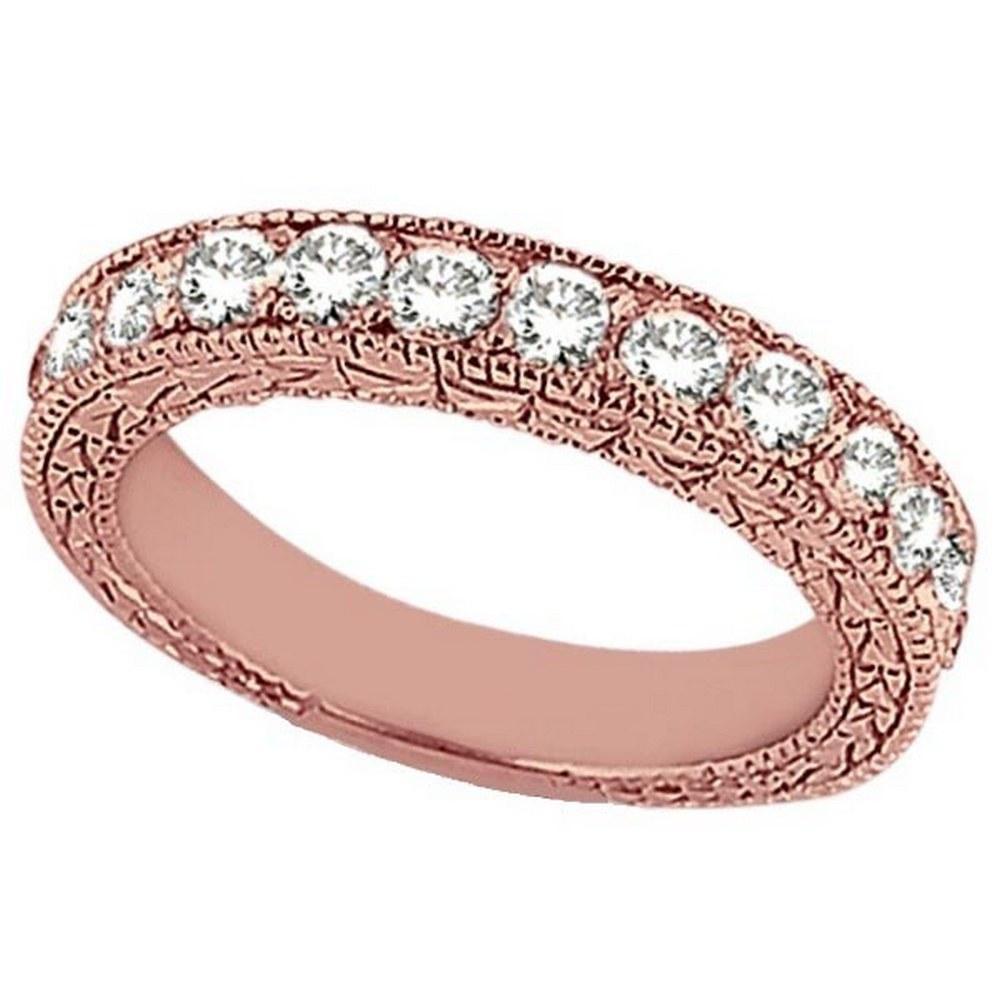 Antique style Style Pave Set Wedding Ring Band 14k Rose