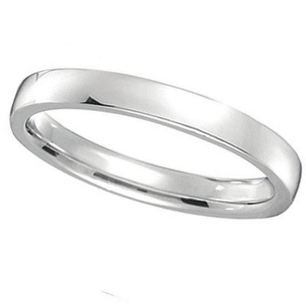 14k White Gold Wedding Ring Low Dome Comfort Fit 2mm