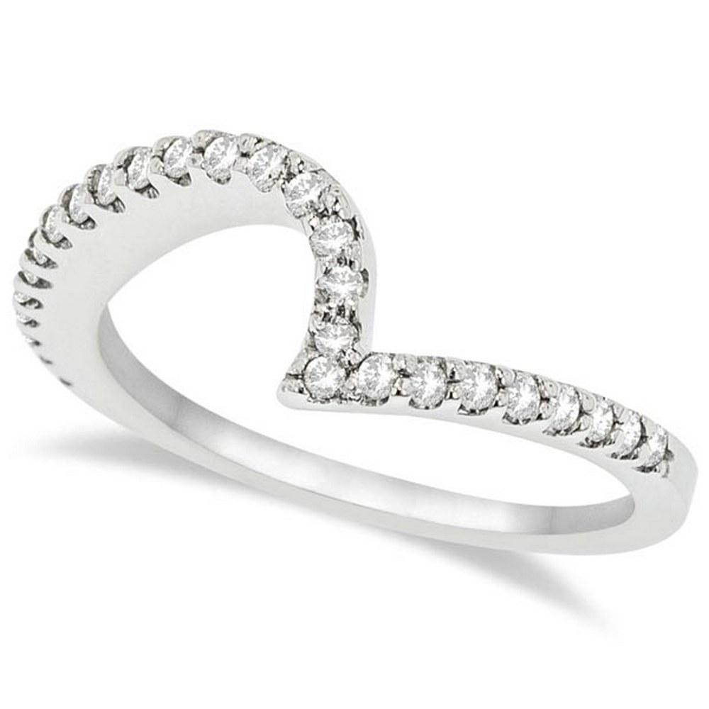 Contour Diamond Wedding Band Prong Set in Platinum 0.25