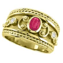 Oval Shaped Ruby and Diamond Byzantine Ring 14k Yellow Gold (0.73ct) #PAPPS51534