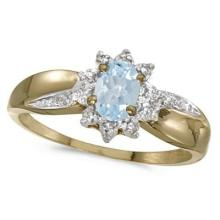 Aquamarine and Diamond Right Hand Flower Shaped Ring 14k Yellow Gold #PAPPS53022